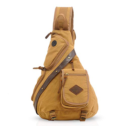 Koolehaoda Vintage Canvas with Cowhide Real Leather Chest Pack Sac à bandoulière Unisexe, Taille: 13.7 \