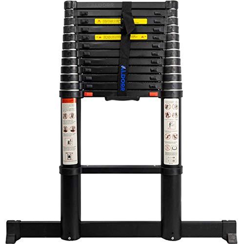 ALDORR Professionnelle 3,80M Échelle Télescopique avec Barre Stabilisateur en Aluminium   Escabeau Télescopique   Charge maximale 150 kg   Mécanisme de Rétraction Souple (Soft-Close)