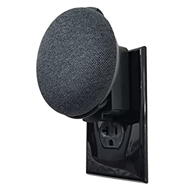 Dot Genie Google Home Mini Backpack: The Simplest and Cleanest Outlet Wall Mount Hanger Stand for Home Mini Voice Assistants by Google - No Cord Wrapping Required - Designed in USA (Black)