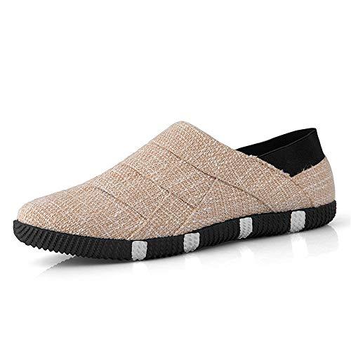 BBTK Personalidad Caballero Zapatillas de Deporte de Moda para Hombre Calzado Deportivo Calzado sin Cordones Estilo Lino Material Redondo Superior Superior Personalidad
