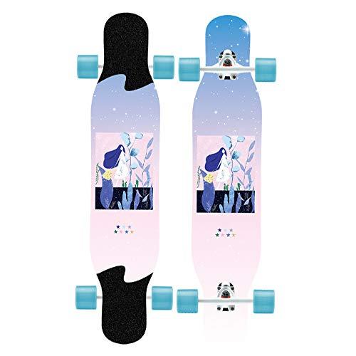 qwert Longboard Drop Through Komplettboard Cruiser, Longboard Junge Mädchen Pinsel Street Dance Board Anfänger Erwachsene Teen Allrad Skateboard Skateboards