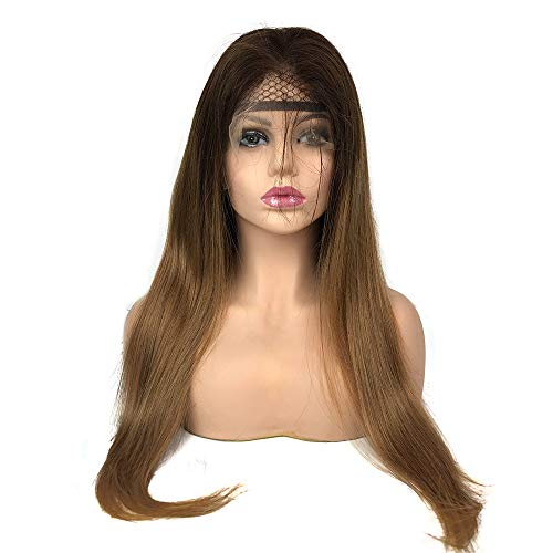 Mila Perruque Femme Bresilienne Lisse Lace Frontal Wig Ombre Brun/Blond 100% Remy Human Hair Wig 130% Density avec Baby Hair 20inch/50cm