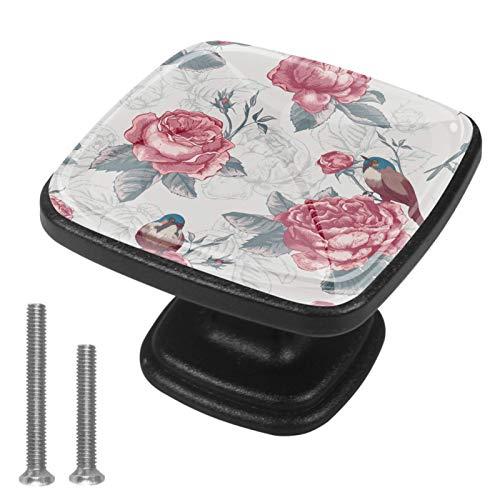 Flor Aves Hojas Vintage (25) Perillas de gabinete 4 pcs Round Knobs Knobs Tiradores de puerta de de con tornillos para la cocina de cajón de gabinete