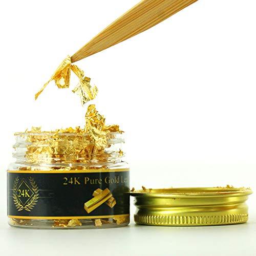 KINNO Hojuelas de Pan de Oro Comestible Auténtico para Decoración de Pastel & Chocolate Salud & Spa 25mg/botella
