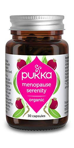 Pukka Herbs Menopause Serenity, Organic Supplement with Sage and Shatavari (The Natural 'Phytoestrogen' or Plant Oestrogen), Plus Natural Vitamin D, Herbal Menopausal Support (30 Capsules)