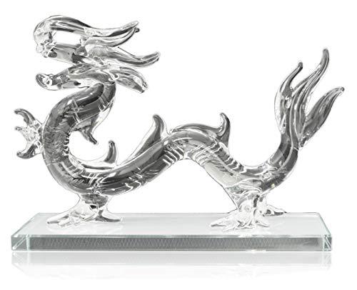 Piquaboo Kristallglas Transparenter Chinesischer Drache, mit Geschenkbox, 16 cm