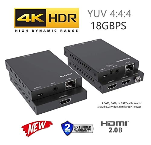 4K HDBT Extender Kit HDR 18GBPS HDMI Over Single CAT5e CAT6 CAT7 2.0B 4K @ 60hz UltraHD YUV 4:4:4 Uncompressed 230FT 70M Transmitter Receiver IR RS232 HDCP2.2 CONTROL4 Savant Home Automation 4K2K