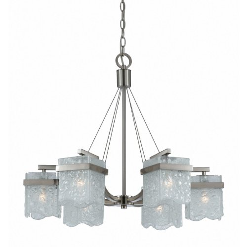 Triarch International 31373 Arctic Ice Collection 6-Light Chandelier, Satin Nickel with Bubble Glass