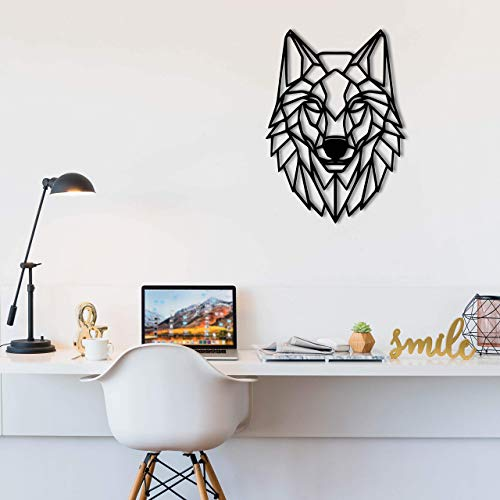 LARGE Wooden Geometric Animal Art - Wolf Head Wall Art Decoration for Bedrooms, Living Rooms, Nursery - Modern Minimalist Wall Art Decor (26' x 19' x 0.25')