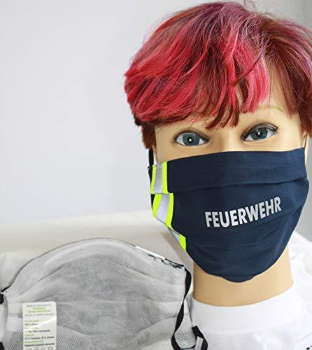 Fan-Omenal Textil Design-Maske waschbar aus Baumwolle - Blau mit Aufdruck FEUERWEHR