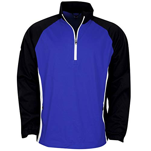 Sale!! Sunderland Mens SUNMW37 Raglan Panelled Zip Neck Showerproof Golf Windshirt Electric Blue/Bla...