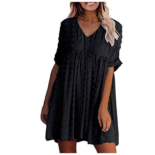 Kleid Damen Kolylong® Frauen V-Ausschnitt Einfarbig Lose Plissee Strandkleid Minikleid Sommerkleid Elegant Beiläufige Blumenkleid Freizeitkleider Böhmisch Kleid