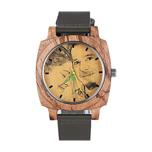 HOUSWEETY Personalisierte hölzerne Uhren Foto Armbanduhr mit Foto und Text Gravur für Männer Frauen