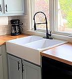 Sinkology SK453-34FC-AMZ Parker Quick-Fit Drop-in Farmhouse Fireclay 33.85 in. 3-Hole Double Bowl Crisp White Kitchen Sink