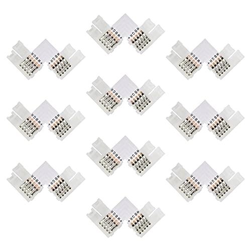 OeyeO 10 conectores LED 5050 RGB con forma de conector de LED, tira RGB, conectores para tiras LED de 10 mm