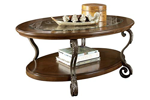 Benjara Wooden Oval Cocktail Table with Glass Top and Open Bottom Shelf, Brown