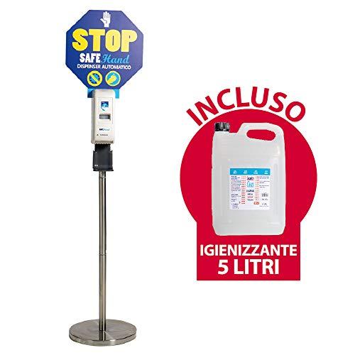 Security Clean Colonnina a Piantana In Acciaio Inox Con Dispenser Automatico Per Gel Igienizzante Mani + Tanica Da 5 Litri, Erogatore Con Sensore e Piattino Salvagoccia (Dispenser + Gel 5 LT)