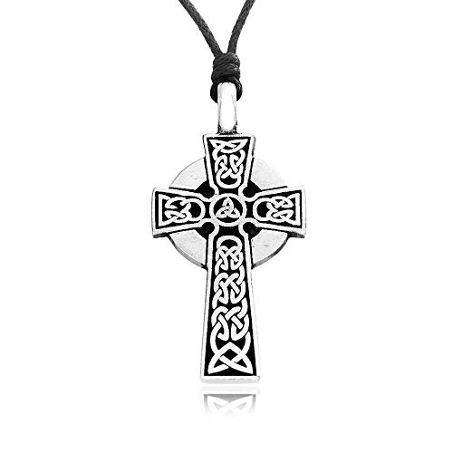 Namaste Jewelers Irish Knot Celtic Cross Pendant Necklace Pewter Jewelry