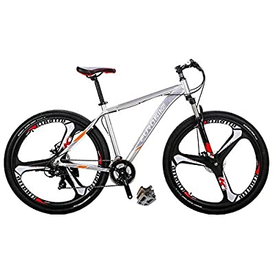 Eurobike Bikes HYX9 Aluminum Frame Mountain Bike 29 Inch 3 Spoke Wheels 21 Speed Bicycle Silver