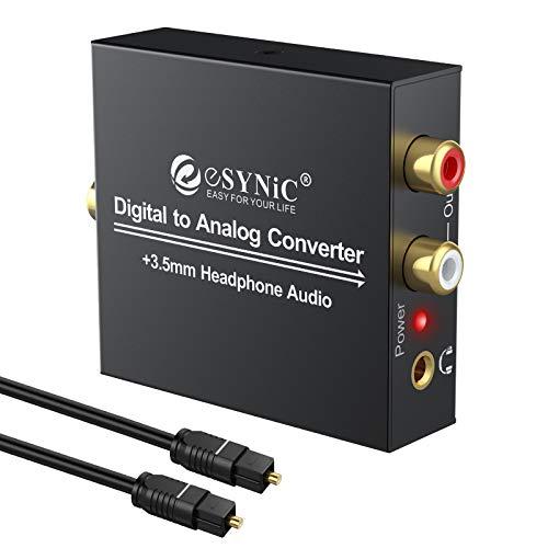 ESYNiC DAC Convertitore Adattatore Audio Coaxial Toslink Ottico SPDIF Digitale ad Analogico Stereo RCA L/R Jack 3.5mm per Cuffie PS3 XBox360 HDTV Blu RAY DVD Sky HD Apple TV Fire TV Box + Cavo Ottico