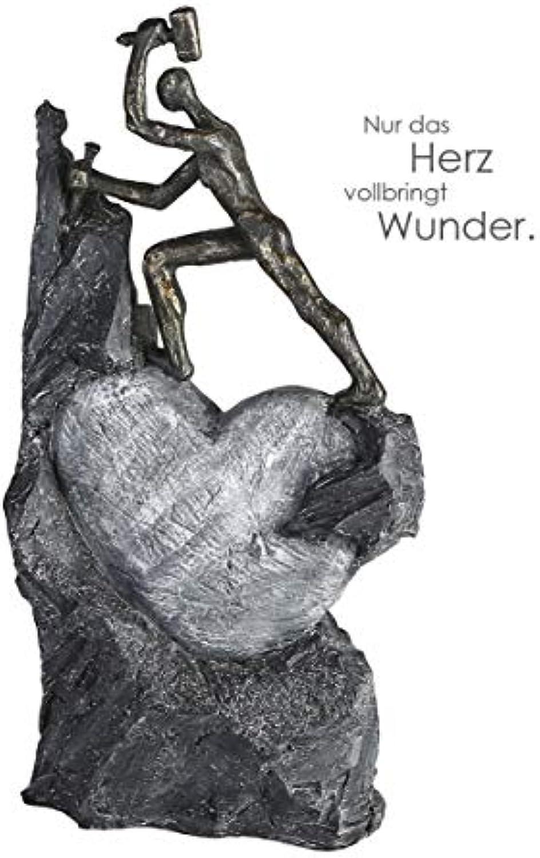 CasaWeißa - Skulptur - Dekofigur - Heart - Herz - Steinmetz - Poly - broncefarben - 37 x 19 cm