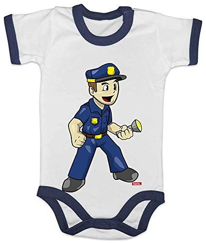 Hariz Baby Body Ringer Policía Witzig Lustig Plus Tarjeta de regalo blanco/azul marino 6 – 12 meses