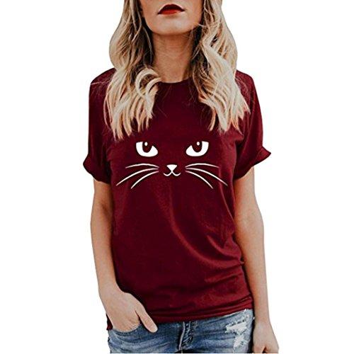 JUTOO Damen Sommer Niedlich Tops Kurzarm T-Shirts Bluse(Wein,EU:42/CN:L)