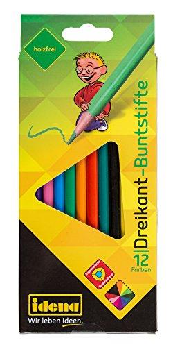 Idena 621439 - Dreikant-Buntstifte, holzfrei, 12 verschiedene Farben, 12 Stück