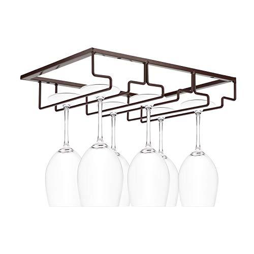 MorNon Wine Glass Rack Under Cabinet Stemware Wine Glass Holder Glasses Storage Hanger Metal Organizer for Kitchen Bar Brown 3 Rows 2 Pack