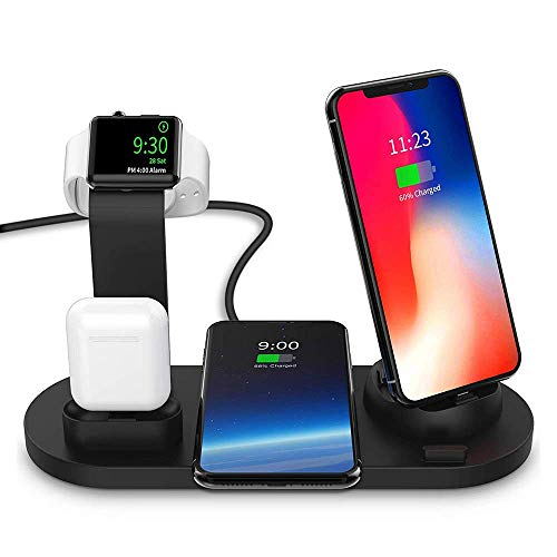 YANGSANJIN snellaadstation Qi, met adapter 4 in 1 10 W/7,5 W oplader voor iPhone XS Max, Samsung Galaxy S10, Airpods, Apple Watch Series 4/3/2/1