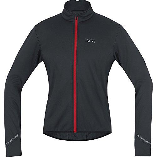 GORE WEAR Chaqueta cortavientos de ciclismo para hombre, C5 GORE WINDSTOPPER Thermo Jacket, S, Negro/Rojo, 100364