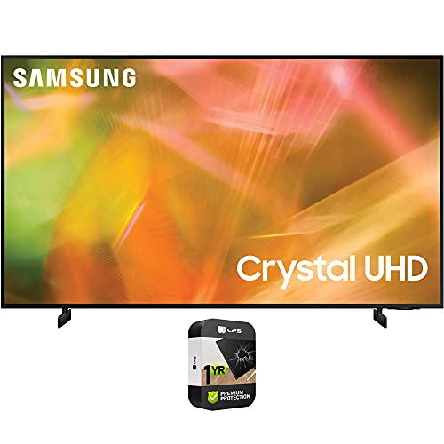 Samsung UN50AU8000FXZA 50 Inch UHD 4K Crystal UHD Smart LED TV 2021 Bundle with Premium 1 Year Extended Protection Plan