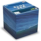 EARTHCUBE Sticky (Blue Sea Pen Hole Design) Blank White 3.5 Inch Note Cube Made in USA (Paper US or CAN) 100% Recycled 700 Tear-Off Pages (Not Loose) Fits Skinny Pen (10mm Pre-Drilled 80% Deep)