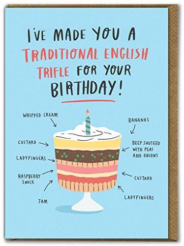 Grappige Humoristische 'Traditionele Engels Trifle' Verjaardagskaart