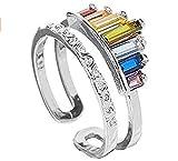 Anillo de arco iris de doble banda, anillos de arco iris apilables de banda ancha ajustable para mujer, anillo de boda, anillo de aniversario, hermoso anillo, el mejor regalo (Plata)