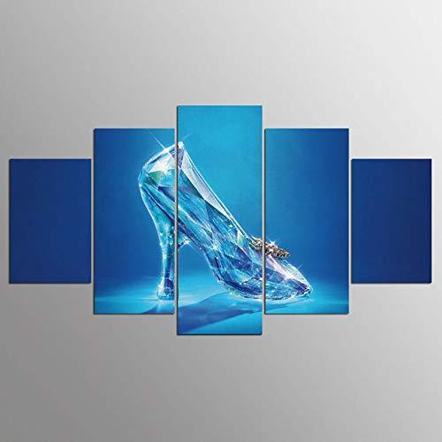 MCZQT canvas woonkamer foto's poster framework 5 panelen blauw glas schilderij muurkunst modulair Hd Printed Home Decor 40x60cmx2 40x80cmx2 40x100cmx1
