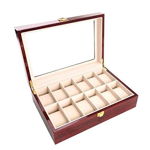 Caja de Reloj de Madera de 12 cuadrículas Caja de Almacenamiento de la Caja de exhibición de la joyería con la Tapa de Cristal y Las Almohadas Suaves desprendibles marrón