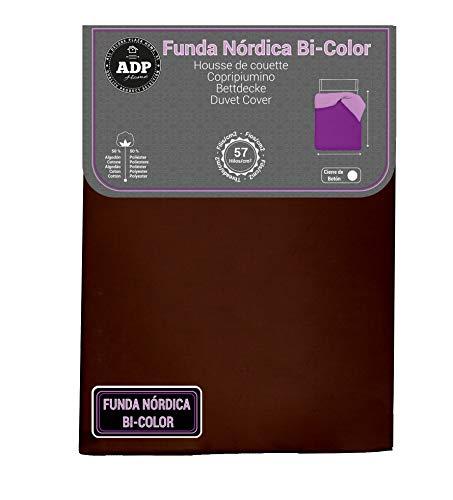 ADP Home - Funda nórdica Bi-Color, Calidad 144 Hilos, 12 Combinaciones, Cama de 90 cm - Color: Chocolate y Naranja