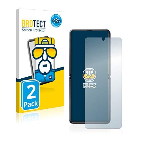 BROTECT Full-Cover Schutzfolie kompatibel mit Samsung Galaxy Z Flip / 5G (2 Stück) - Full-Screen Bildschirmschutz-Folie, 3D Curved, Kristall-Klar