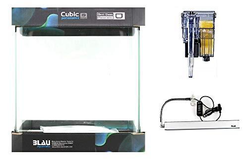 Blau Aquaristic Nano Cubo Cúbico Azul Set Completo 19 L 25x25x30 cm