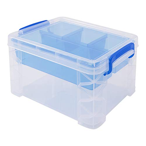 Super Stacker Divided Storage Box with Removable Tray, 10 x 7.5 x 6.5 Inches (37375)