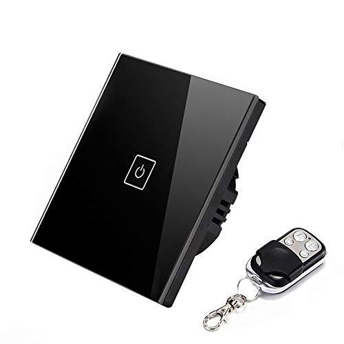 WiFi Smart Touch Switch, 1Gang Wireless Black Glass Touch Panel Temporizador Interruptor Luz de Pared Smartphone Mando a Distancia