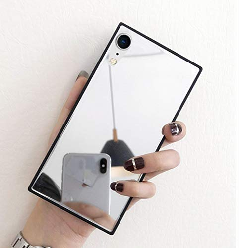 iPhone XR Mirror Case,LMING Luxury Square Glass Glossy Mirror Shockproof Smooth Hard Case for iPhone XR 6.1inch