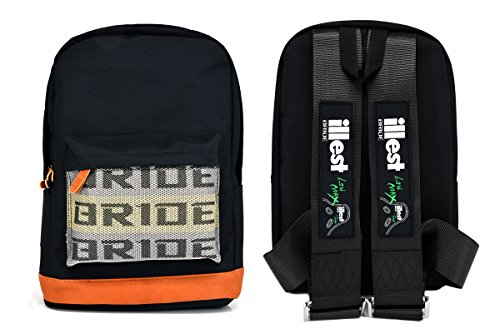 New Bride Racing Backpack with ILLEST BRIDE Racing Harness Shoulder Straps BLACK