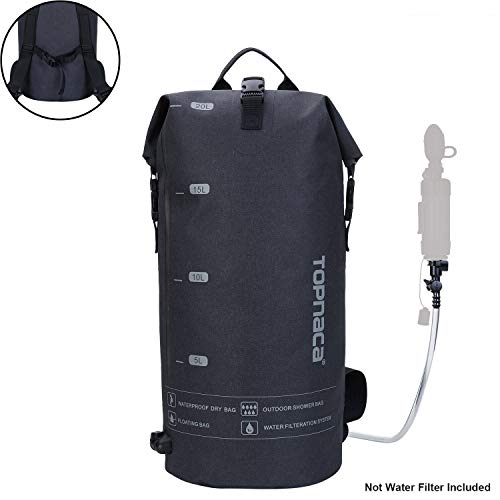 Topnaca Outdoor Seaside Multifunctionele 20L rugzak, licht opvouwbaar, verzegelde tactische waterdichte douche-rugzak voor kajakken, raften, varen, zwemmen, kamperen, wandelen, surfen