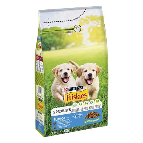 PURINA FRISKIES Crocchette Cane Vitafit Junior con Pollo e l Aggiunta di Latte e Verdure- 6 sacchi da 1.5 kg ciascuno