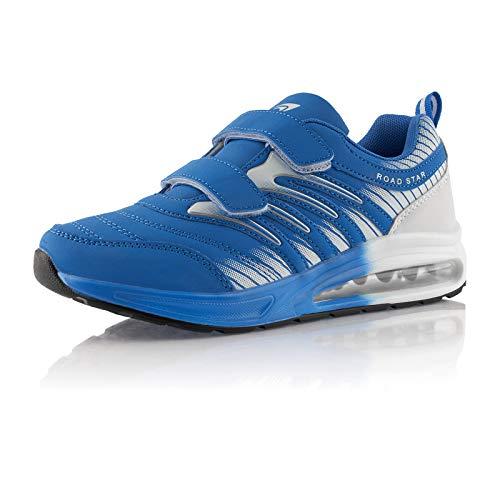 Fusskleidung® Damen Herren Laufschuhe Dämpfung Sportschuhe leichte Turnschuhe Blau Weiß EU 36