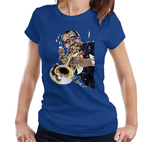 VINTRO Louis Armstrong mit Trompete Damen T-Shirt Original Portrait von Sidney Maurer professionell bedruckt Gr. XXL, königsblau