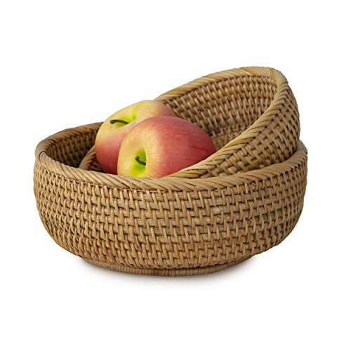Wicker Bread Fruit Basket Bowl | Round Tabletop Rattan Woven Serving Bowls for Home and Restaurant (Set 2 Bowls)
