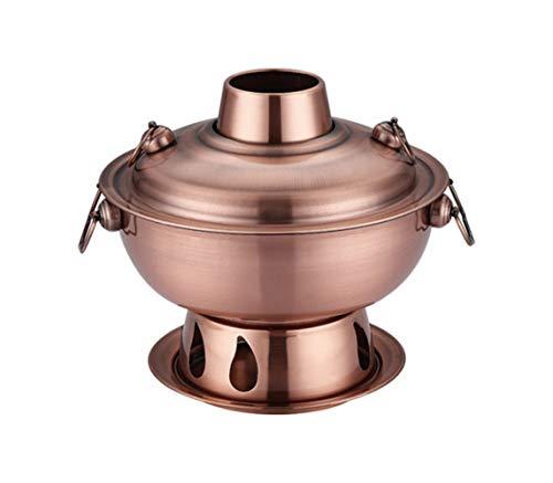 1,8 Litri di Alta qualità Piatto Caldo in Acciaio Inox, Cinese fonduta Agnello Cinese del Carbone di Legna all aperto Hotpot fornello Picnic fornello (Color : Red Copper)